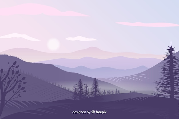 Piękny Krajobraz Gór Gradientowych Darmowych Wektorów