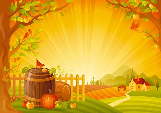 Piękny krajobraz jesień. upadek wsi z dynią i beczkami. święto dziękczynienia i zbiorów ilustracji wektorowych festiwalu. Premium Wektorów