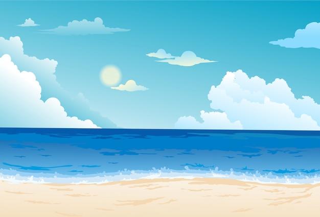 Piękny Krajobraz Morski Tło Premium Wektorów