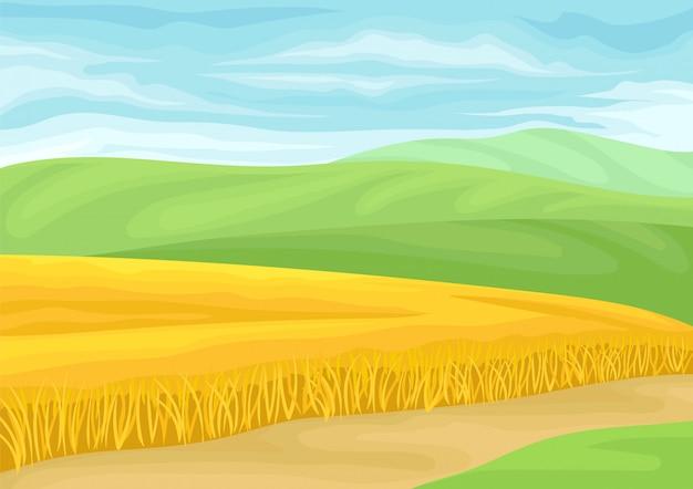 Piękny Krajobraz Z Polem Pszenicy. Premium Wektorów
