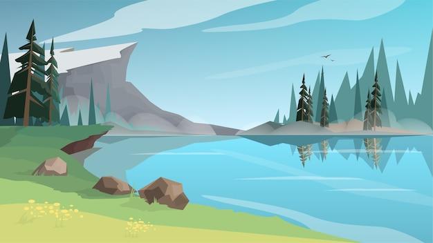 Piękny Krajobraz Ze Stawem, Rzeką Lub Jeziorem Premium Wektorów