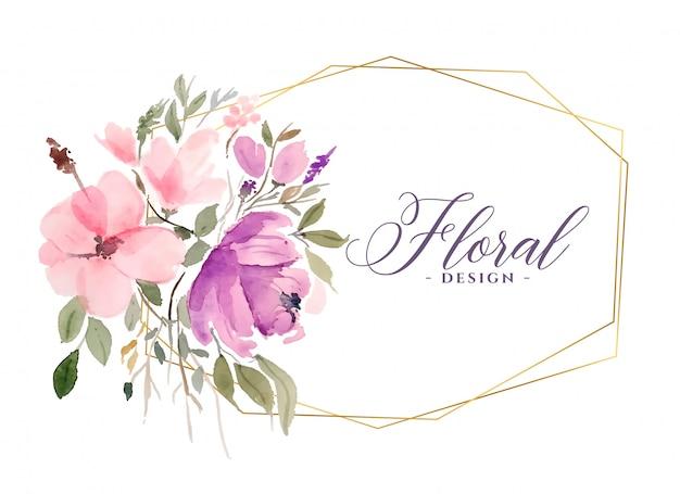 Piękny Kwiat Akwarela Kwiatowy Tło Z Złotej Ramie Darmowych Wektorów