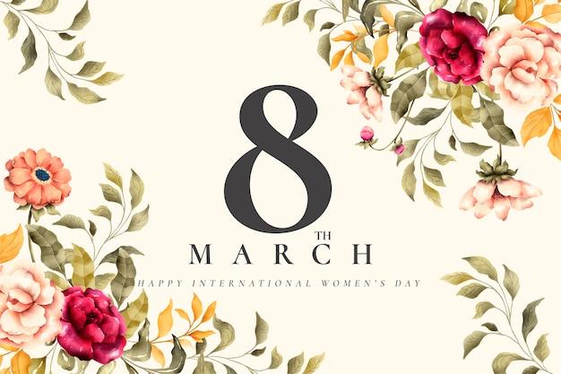 Piękny Kwiatowy Dzień Kobiet W Tle Darmowych Wektorów