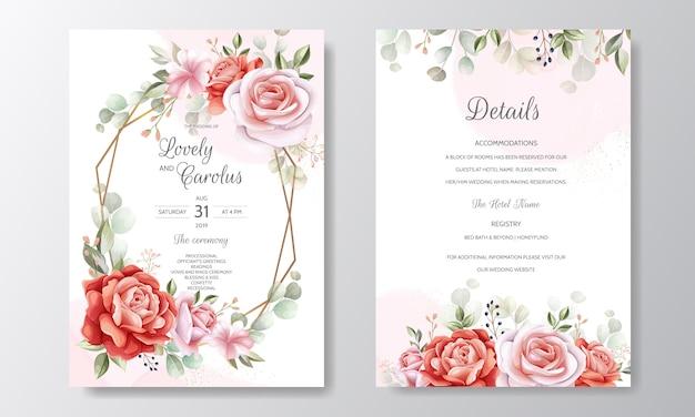 Piękny Kwiatowy Rama Szablon Zaproszenia ślubne Premium Wektorów