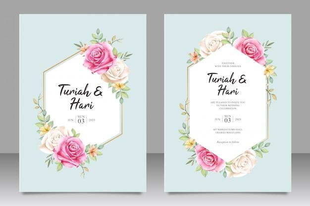 Piękny kwiatowy ślub zaproszenia szablonu karty na geometryczne kształty Premium Wektorów