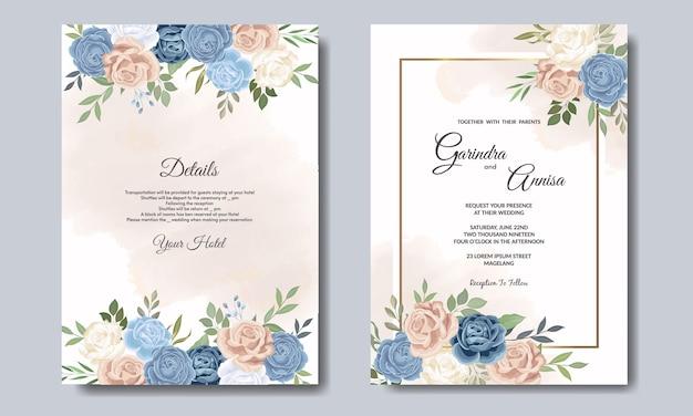 Piękny Kwiatowy ślub Zaproszenia Szablonu Karty Premium Premium Wektorów