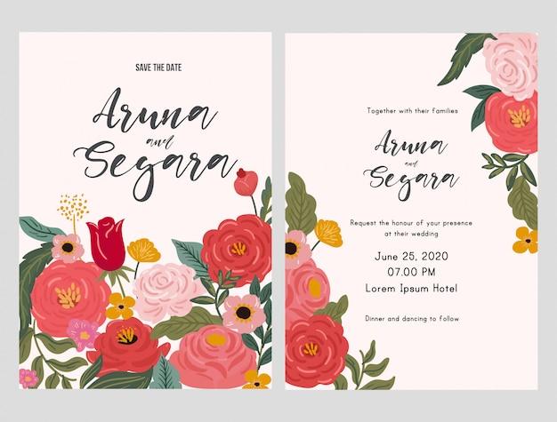 Piękny Kwiatowy ślub Zaproszenia Szablonu Karty Premium Wektorów
