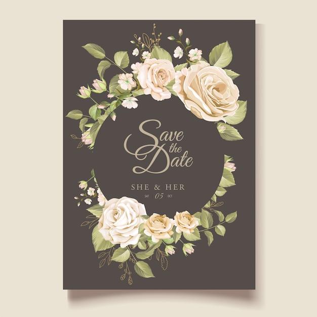Piękny Kwiatowy ślub Zaproszenia Szablonu Karty Darmowych Wektorów