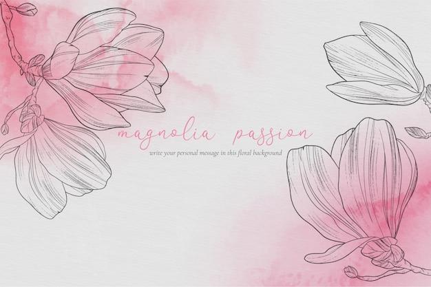 Piękny Kwiatowy Tło Z Magnolii Darmowych Wektorów