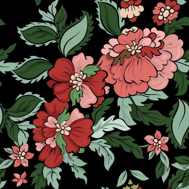 Piękny Kwiatowy Wektor Wzór. Premium Wektorów