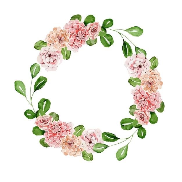 Piękny Kwiatowy Wieniec Akwarelowy Z Różami Premium Wektorów