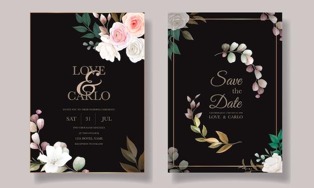 Piękny Kwiatowy Zaproszenia ślubne Szablon Karty Darmowych Wektorów