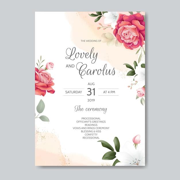 Piękny Kwiatowy Zaproszenia ślubne Z Kwitnących Róż I Zielonych Liści Premium Wektorów