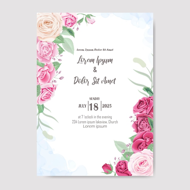 Piękny kwiatowy zaproszenia ślubne Premium Wektorów