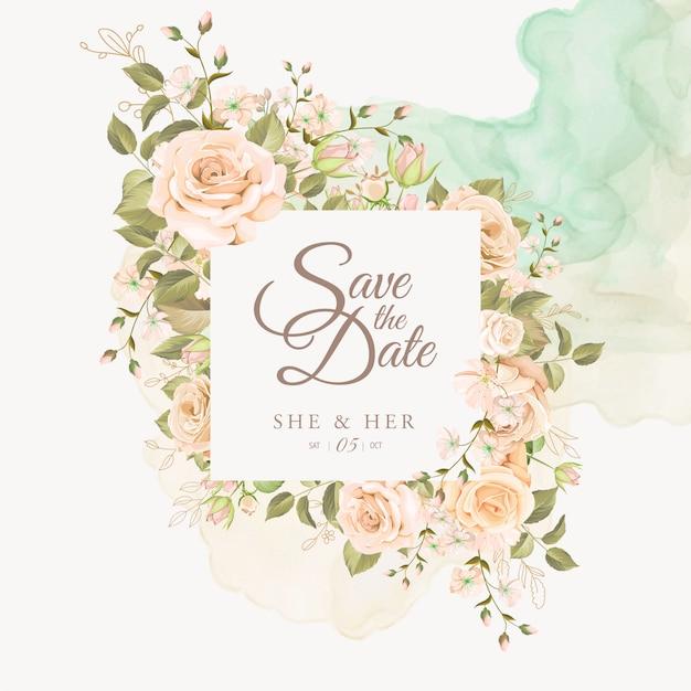Piękny Kwiatowy Zaproszenia ślubne Darmowych Wektorów