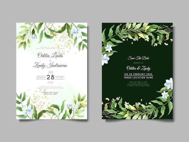 Piękny Kwiatowy Zaproszenie Na ślub Akwarela Szablon Karty Premium Wektorów