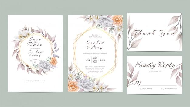 Piękny kwiatowy zestaw szablon zaproszenia ślubne Premium Wektorów