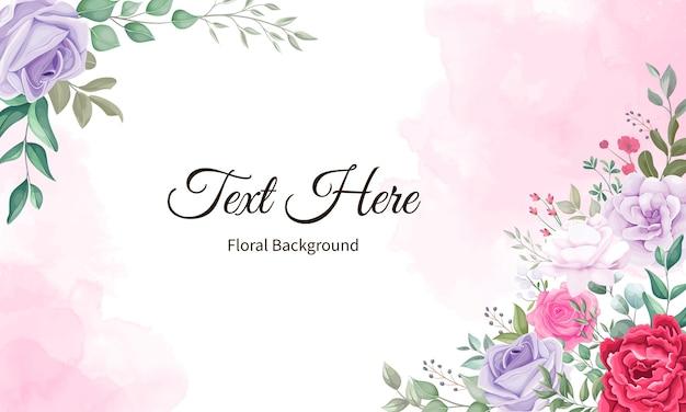 Piękny Kwitnący Kwiat I Liście Tło Premium Wektorów