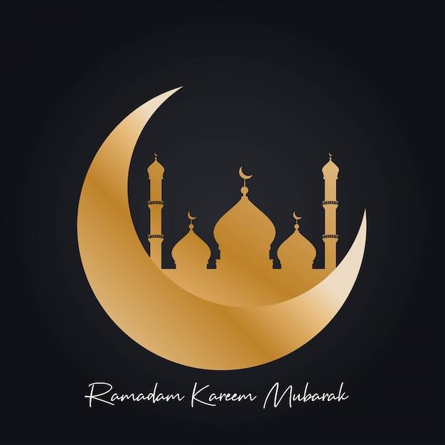 Piękny meczet z cresent moon ramadan kareem mubarak Premium Wektorów