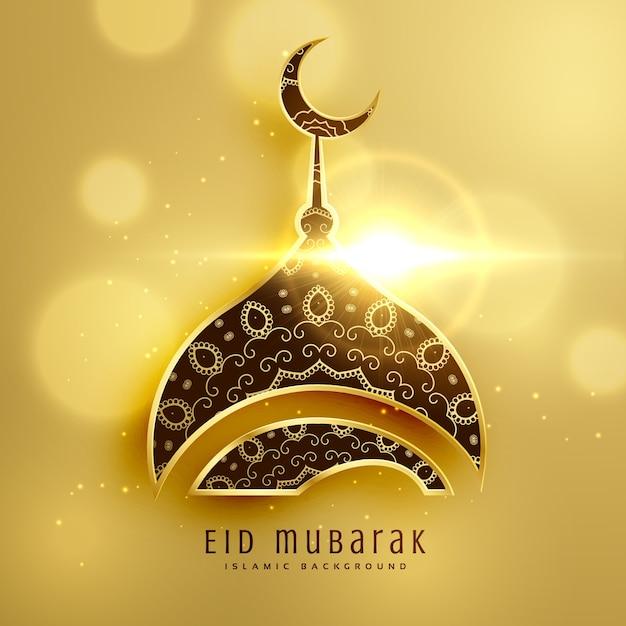 Piękny meczetowy projekt islamskiego festiwalu eid ze złotą ozdobą Darmowych Wektorów