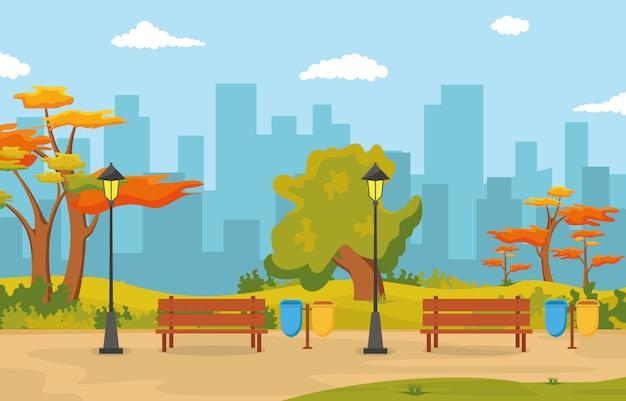 Piękny miasto park w jesieni jesieni z budynek linii horyzontu ilustracją Premium Wektorów