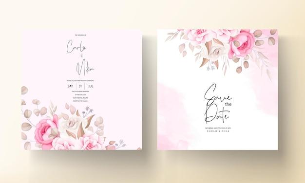 Piękny Miękki Brzoskwiniowy I Brązowy Kwiatowy Szablon Zaproszenia ślubne Darmowych Wektorów
