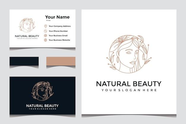 Piękny, Naturalny, Elegancki Projekt Logo Twarzy Z Projektem Wizytówki Premium Wektorów