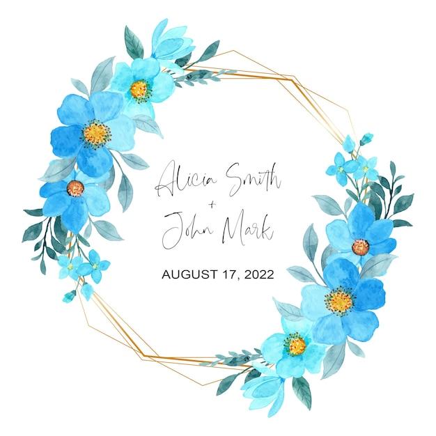 Piękny Niebieski Kwiatowy Akwarela Ze Złotą Ramą Premium Wektorów