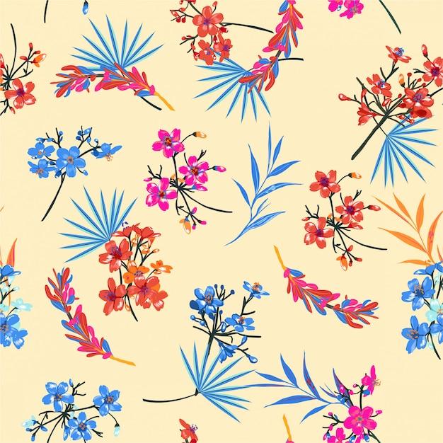 Piękny Ogród Retro Kwiatki. Motywy Botaniczne Rozproszyły Przypadkowy Chiński Nastrój. Tekstura Wektor Bez Szwu Do Nadruków Modowych. Premium Wektorów