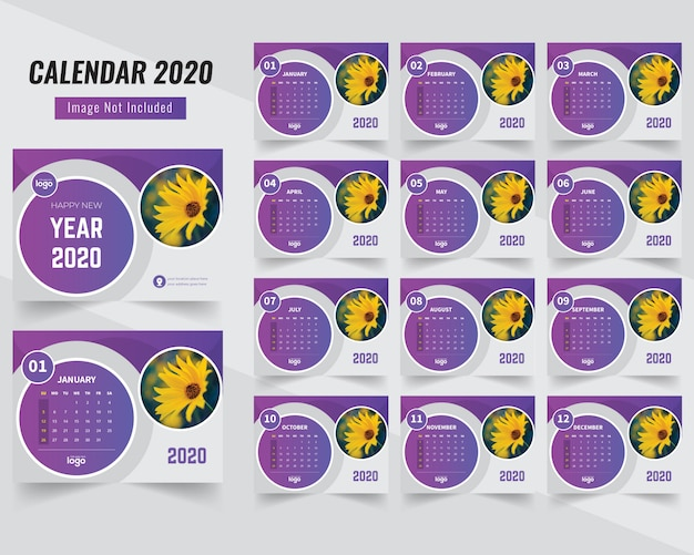 Piękny okrąg kształt kalendarza 2020 Premium Wektorów