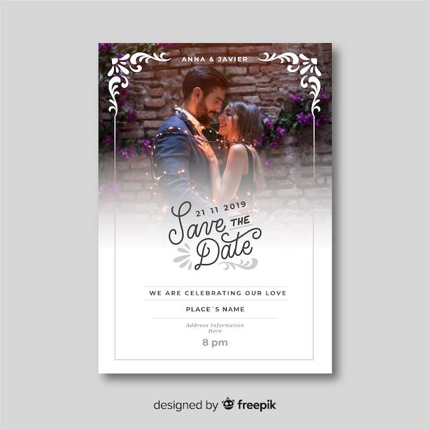 Piękny ozdobny ślub zaproszenia szablon ze zdjęciem Darmowych Wektorów