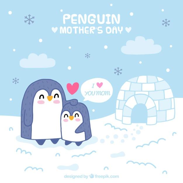 Piękny Pingwiny Karta Dzień Matki Darmowych Wektorów