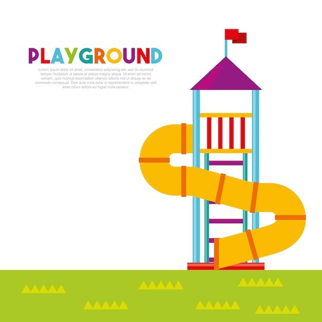 Piękny plac zabaw dla dzieci z dziećmi Premium Wektorów