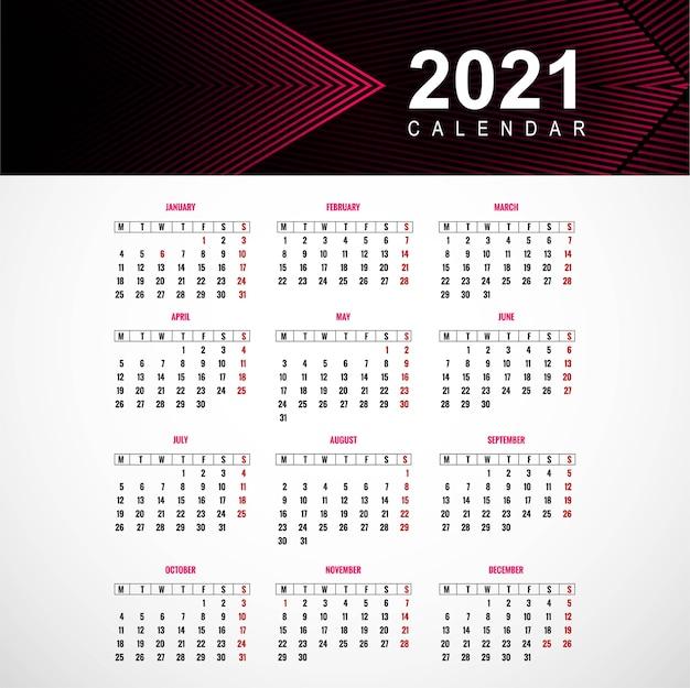 Piękny Projekt Szablonu Kalendarza 2021 Darmowych Wektorów