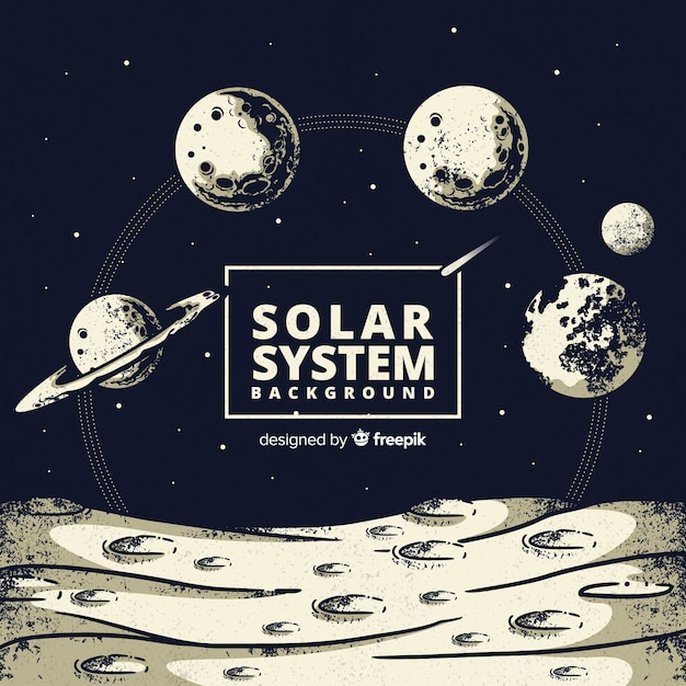 Piękny ręcznie rysowane układ systemu słonecznego Darmowych Wektorów