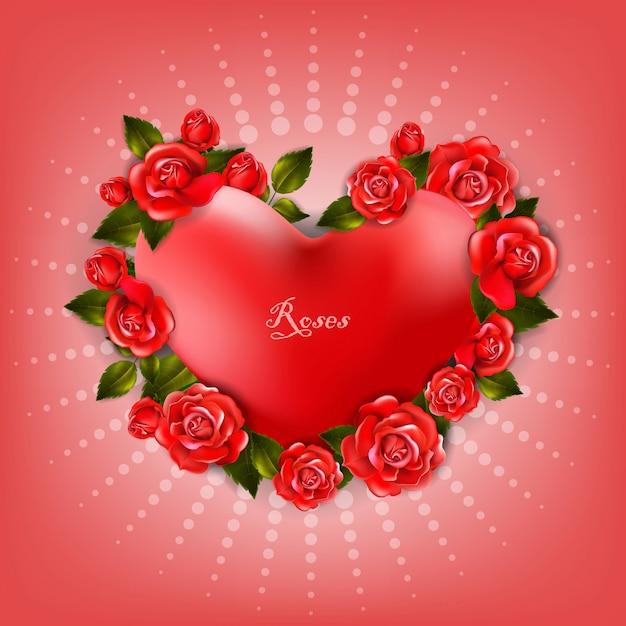 Piękny romantyczny kształt serca z czerwonymi różami i liśćmi Premium Wektorów