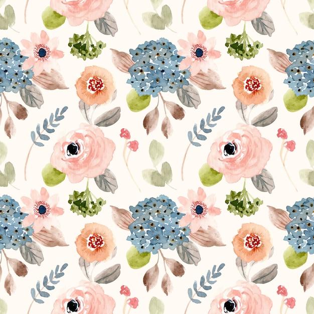Piękny rumieniec niebieski kwiat akwarela bezszwowe wzór Premium Wektorów