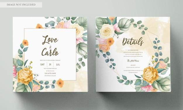 Piękny Rysunek Ręka Zaproszenie Na ślub Kwiatowy Wzór Darmowych Wektorów