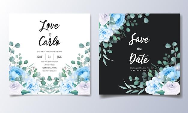 Piękny Rysunek Ręka Zaproszenie Na ślub Niebieski Kwiatowy Wzór Darmowych Wektorów