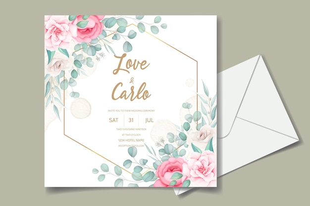 Piękny Rysunek Zaproszenia ślubne Bordowy Kwiatowy Wzór Darmowych Wektorów