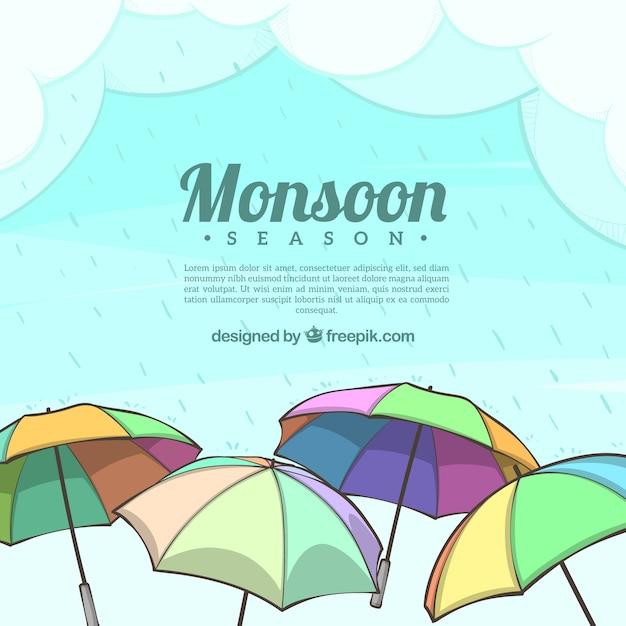 Piękny Skład Sezonu Monsunowego Z Parasolem Darmowych Wektorów