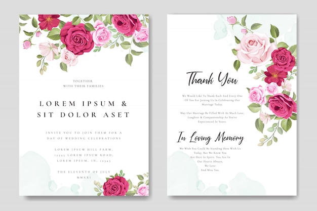 Piękny ślub karty kwiatowy szablon ramki Premium Wektorów