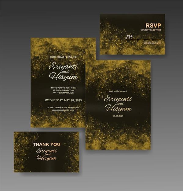 Piękny ślub Tło Akwarela Karty Z Splash Premium Wektorów