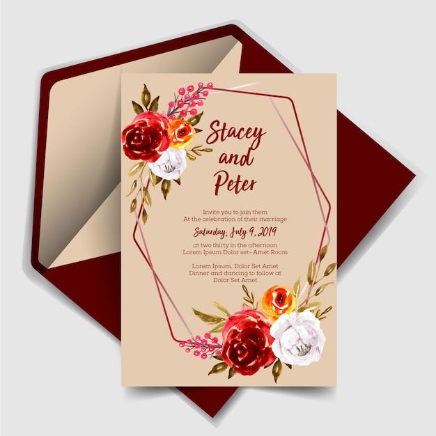 Piękny ślub zaproszenia akwarela róża rocznika Premium Wektorów