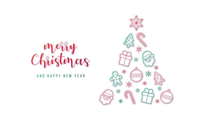 Piękny świąteczny Baner Z Choinką Wykonany Z Różnych Elementów Darmowych Wektorów