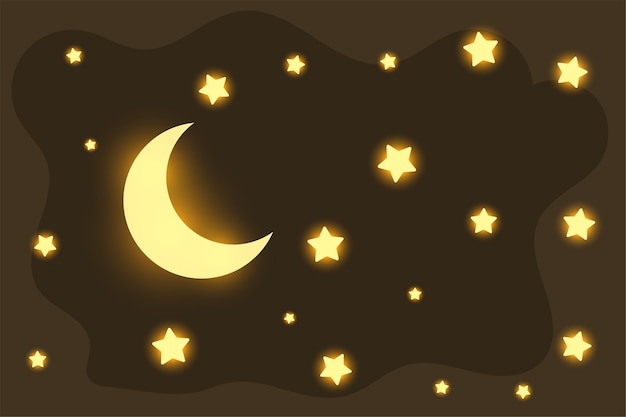 Piękny świecący Księżyc I Gwiazdy Marzycielskie Tło Darmowych Wektorów