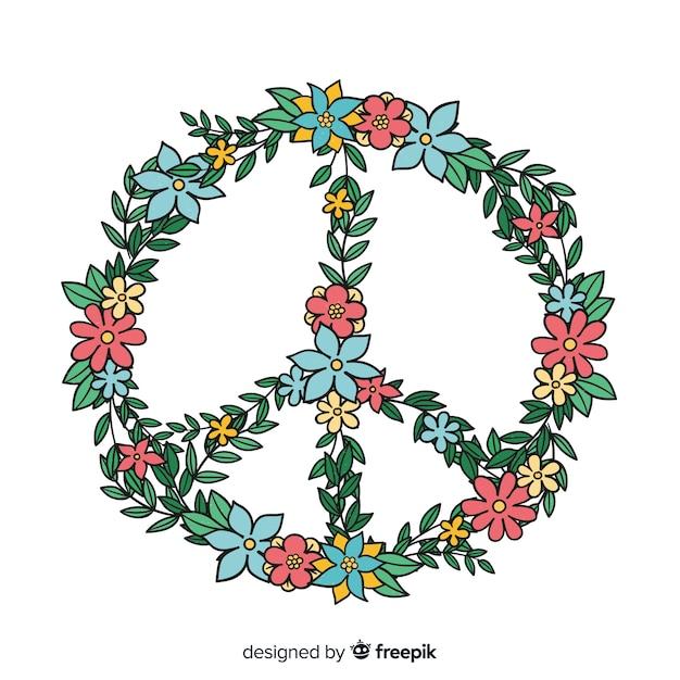 Piękny Symbol Pokoju W Stylu Kwiatowym Darmowych Wektorów