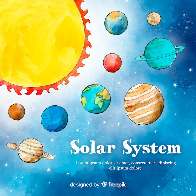 Piękny system akwareli słonecznych Darmowych Wektorów