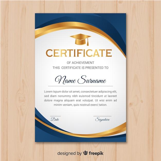 Piękny szablon certyfikatu ze złotymi elementami Darmowych Wektorów
