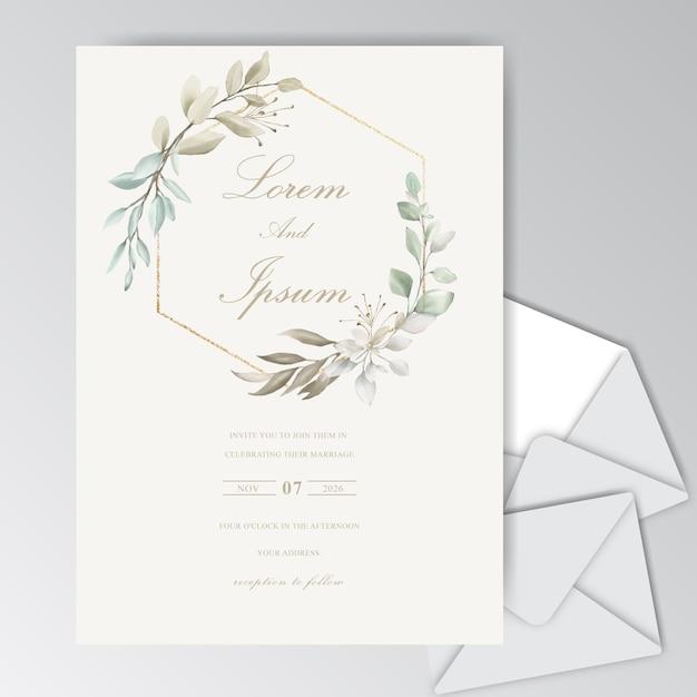 Piękny Szablon Karty ślub Akwarela Z Liści Premium Wektorów
